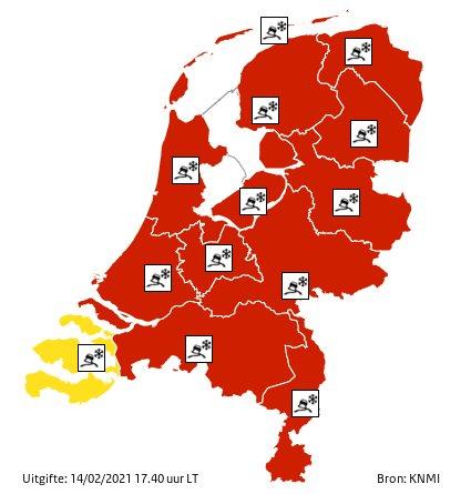 15 februari weeralarm code rood – alle lessen online