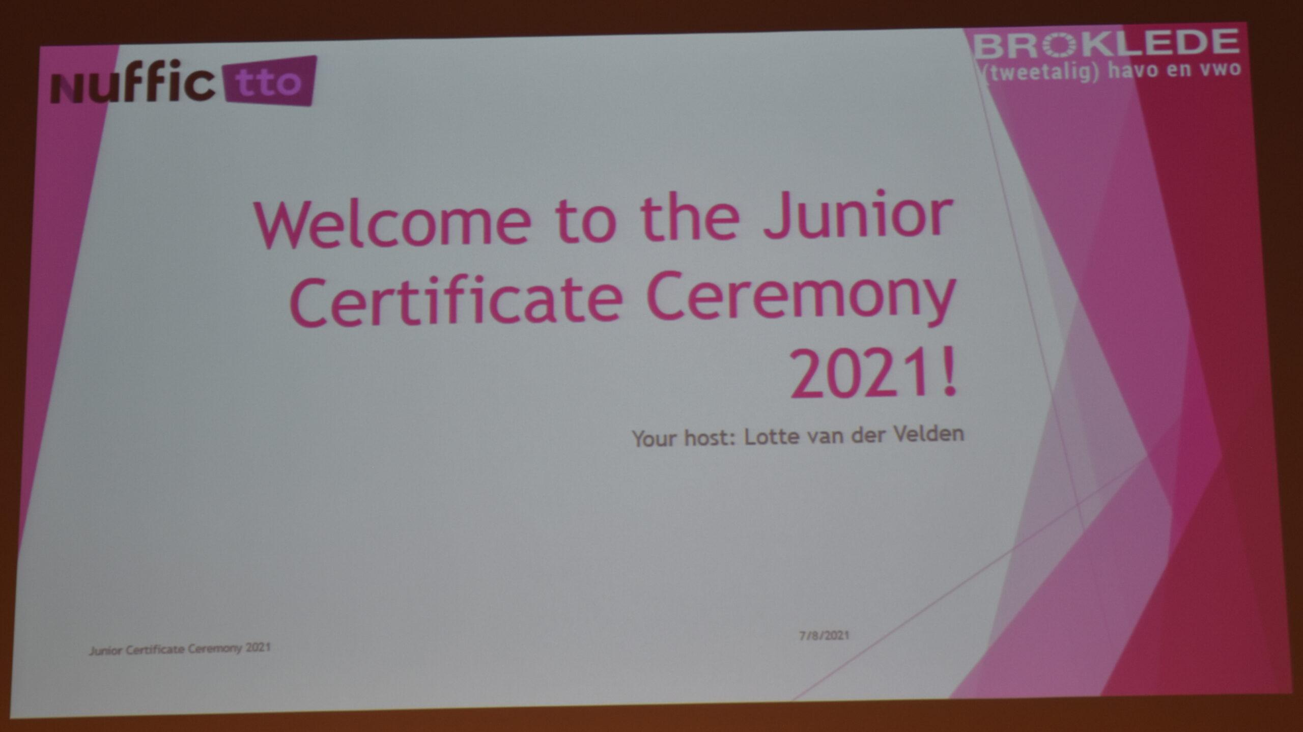 Uitreiking jr. certificaten tto